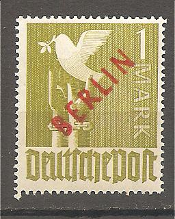 50585 - Berlino - 1 Mark in Red Overprint on  Allied Occupation Zone - 1949 * G